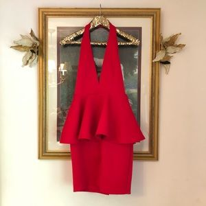 Dresses & Skirts - Scuba neoprene peplum plunge dress L